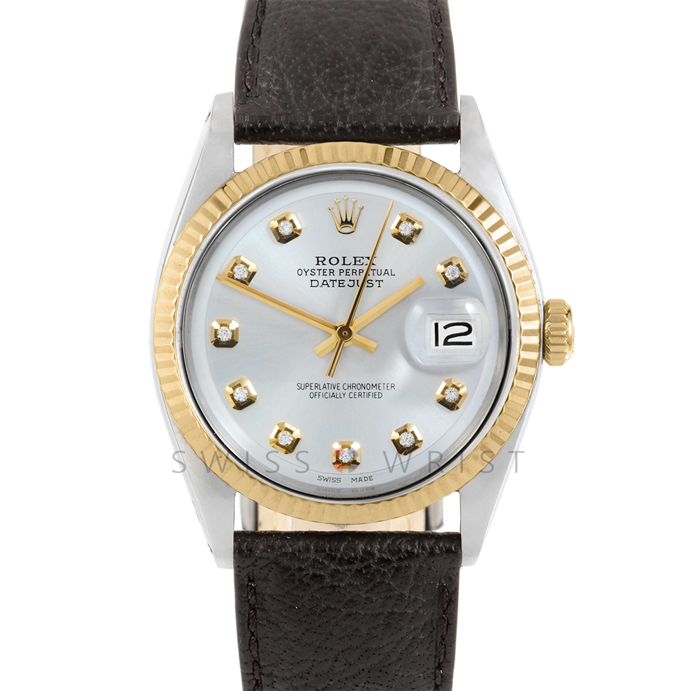 Rolex Datejust 36 1601 Yellow Gold & Stainless Steel, Custom Silver Diamond, Fluted Bezel On A Black Buffalo Leather Strap - Men's Pre-Owned Watch