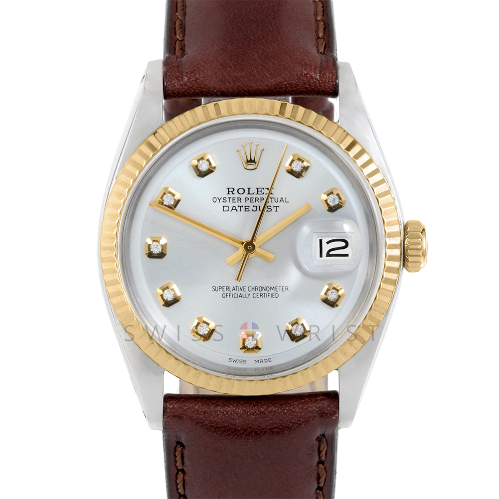 Rolex Datejust 36 mm 1601 Yellow Gold & Steel, Custom Champagne Diamond, Fluted Bezel On A Brown Leather Strap - Men's Pre-Owned Watch