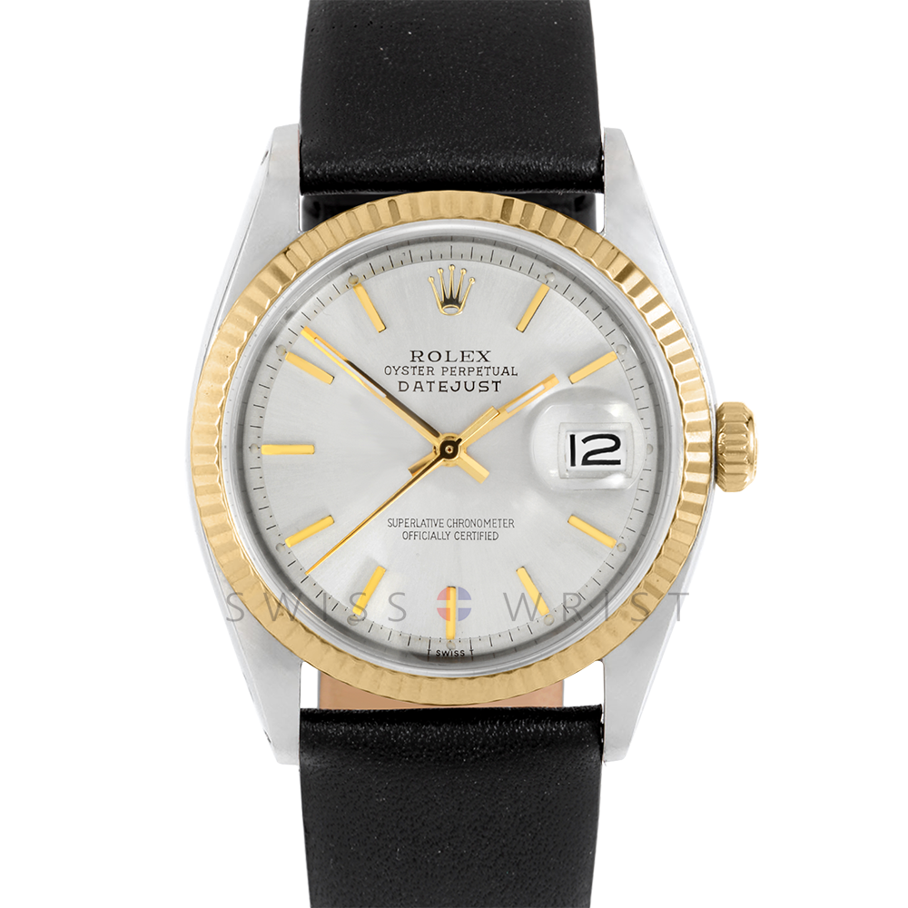 Rolex Datejust 36 1601 Yellow Gold & Steel, Refinished Champagne Stick, Fluted Bezel On A Black Leather Strap - Men's Pre-Owned Watch