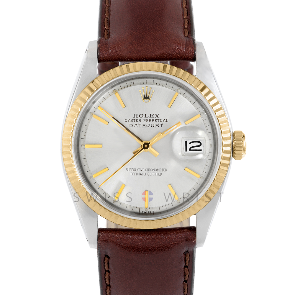 Rolex Datejust 36 1601 Yellow Gold & Steel, Refinished Champagne Stick, Fluted Bezel On A Brown Leather Strap - Men's Pre-Owned Watch