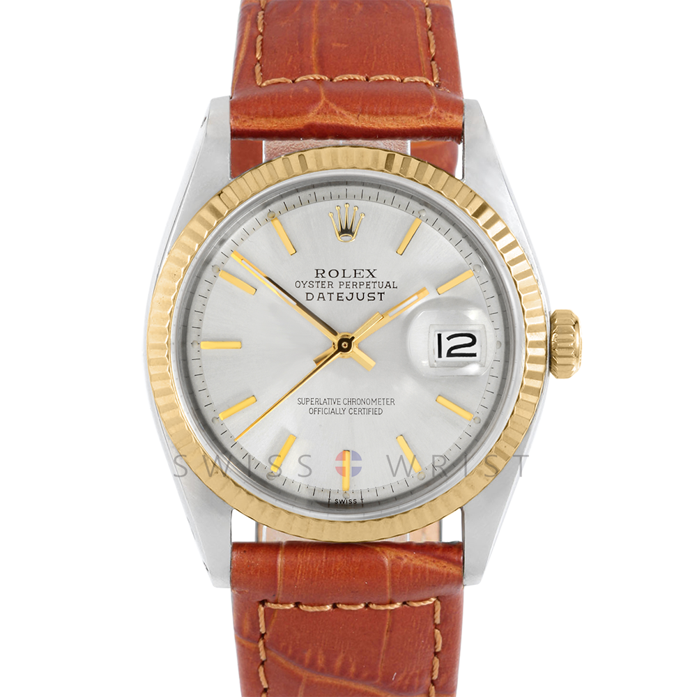 Rolex Datejust 36 1601 Yellow Gold & Steel, Refinished Champagne Stick, Fluted Bezel On A Brown Alligator Leather Strap - Men's Pre-Owned Watch