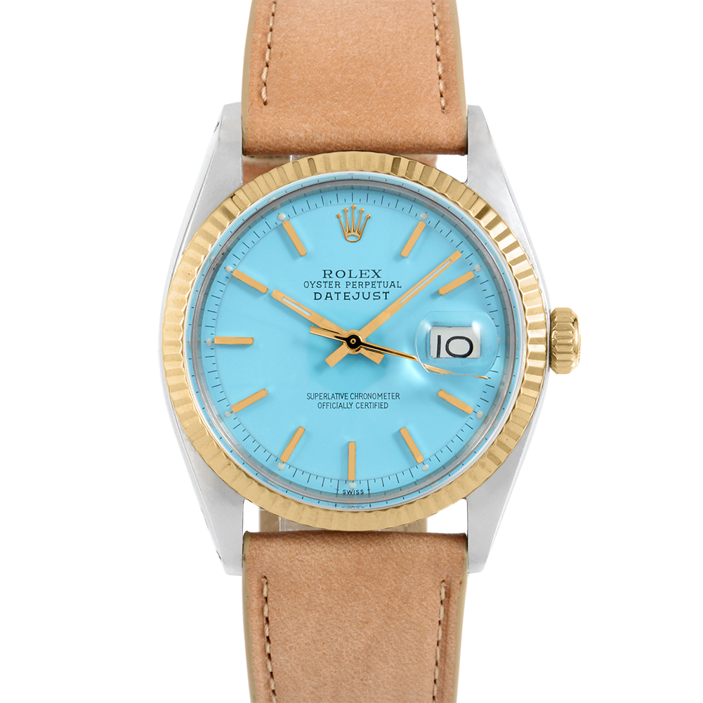 Rolex Datejust 36 1601 Yellow Gold & Stainless Steel, Refinished Turquoise Stick, Fluted Bezel On A Taupe Calf Leather Strap - Men's Pre-Owned Watch