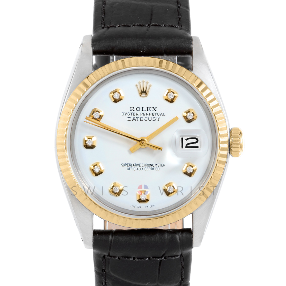 Rolex Datejust 36 mm 1601 Yellow Gold & Stainless Steel, Custom White Diamond, Fluted Bezel On A Black Alligator Leather Strap - Men's Pre-Owned Watch
