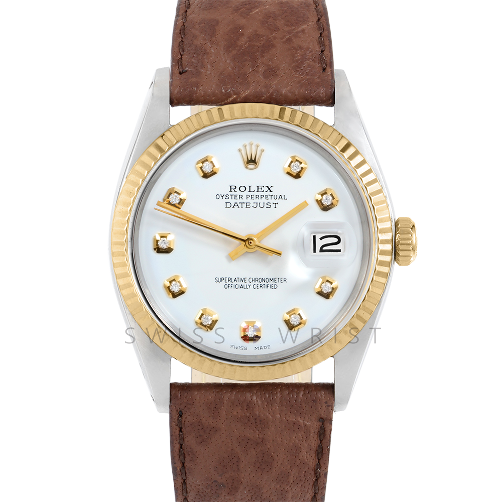 Rolex Datejust 36 1601 Yellow Gold & Stainless Steel, Custom White Diamond, Fluted Bezel On A Brown Buffalo Leather Strap - Men's Pre-Owned Watch