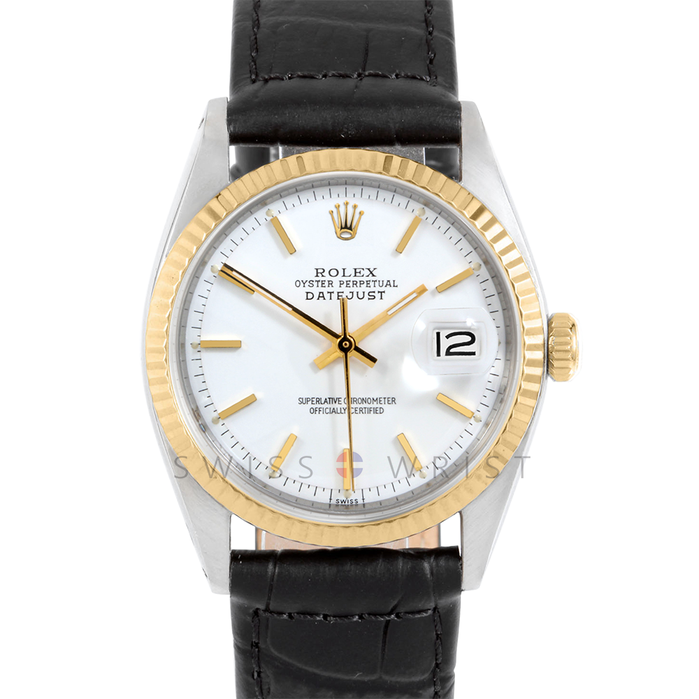 Rolex Datejust 1601 White Stick Dial 18k Yellow Gold & Stainless Steel - Fluted Bezel On A Black Alligator Leather Strap - Pre-Owned