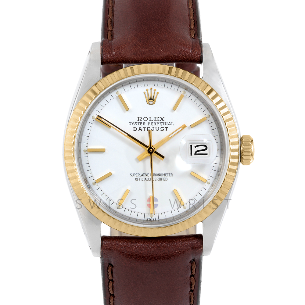 Rolex Datejust 1601 White Stick Dial 18k Yellow Gold & Stainless Steel - Fluted Bezel On A Brown Leather Strap - Pre-Owned