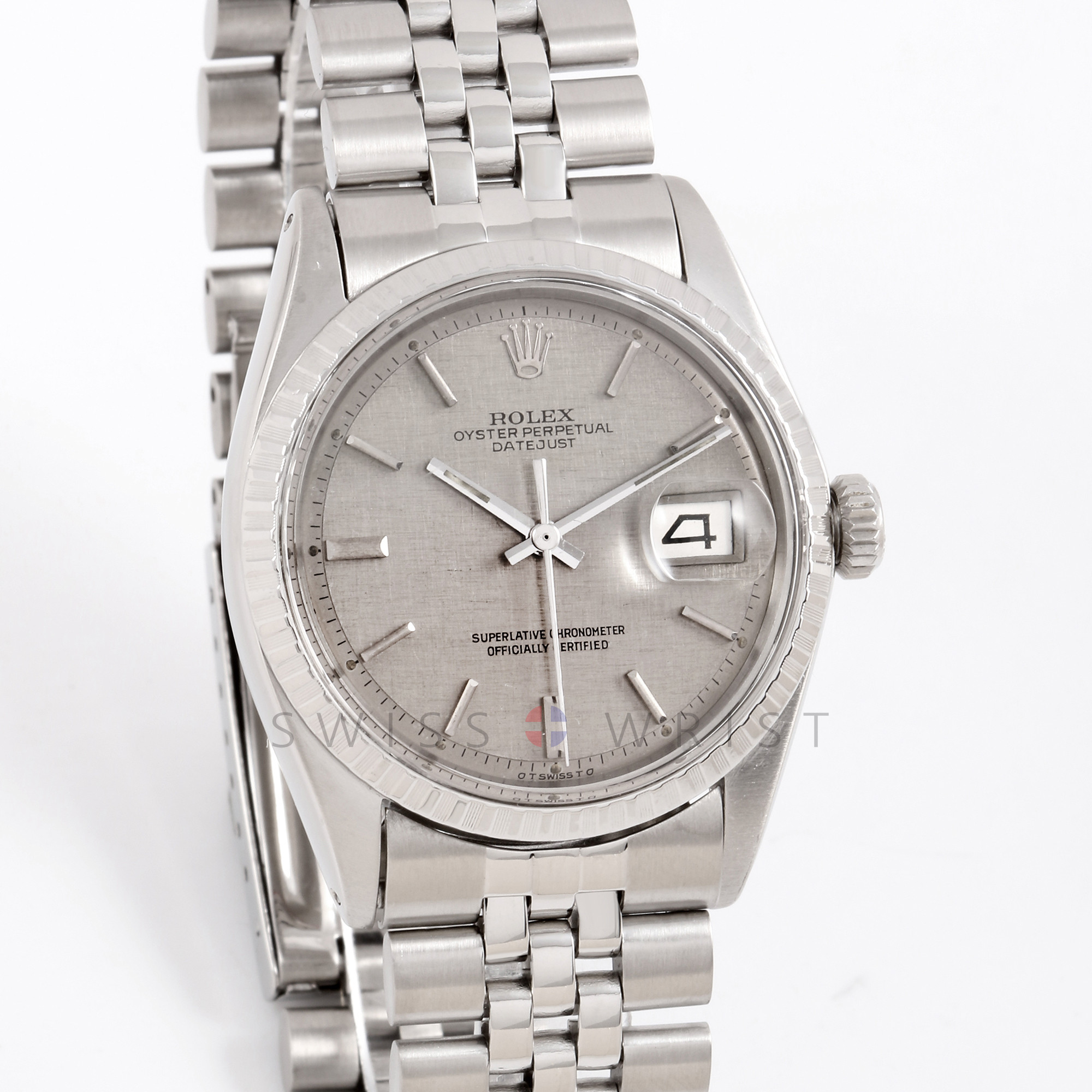 Rolex Datejust 36 mm 1603 Stainless Steel w/ Slate Linen Stick Dial and Engine Turned Bezel with Jubilee Bracelet - Men's Pre-Owned Watch