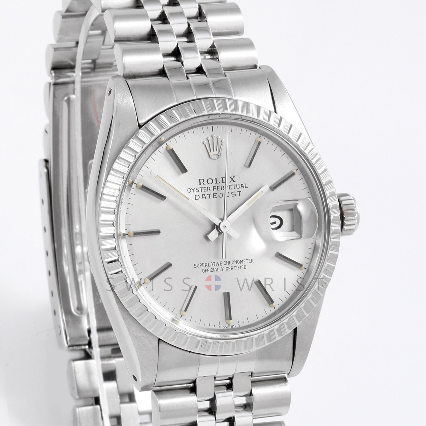 Rolex 16030 Mens Datejust 36mm Stainless Steel w/ Silver Stick Dial & Engine Turn Bezel with Jubilee Bracelet - Pre-Owned with Box & Papers