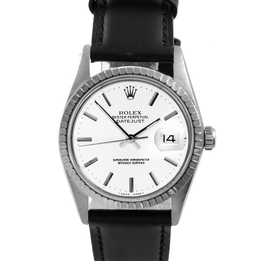 Rolex Datejust 16030 - White Stick Dial - Stainless Steel - Engine Turn Bezel On A Leather Strap - Pre-Owned