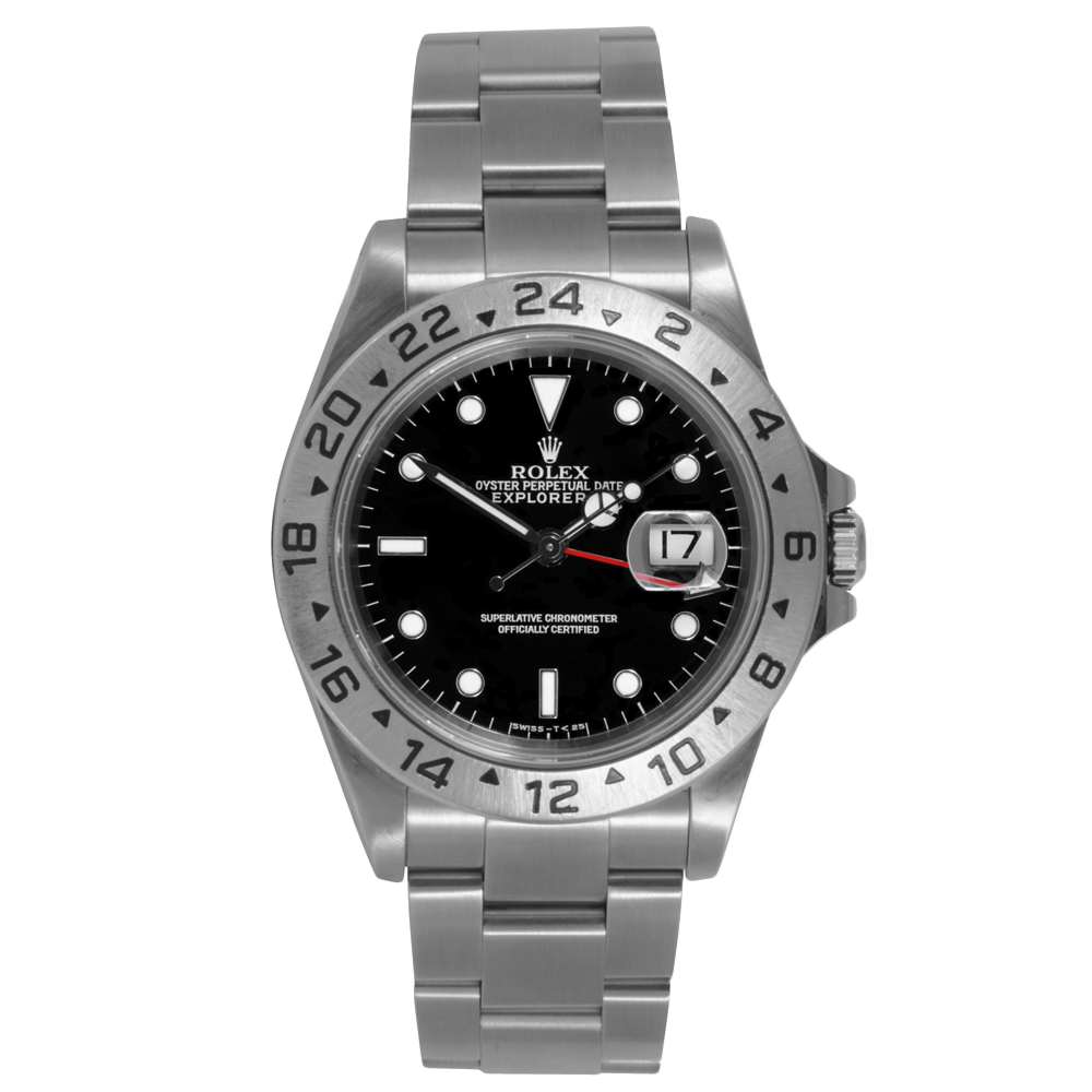 Pre-owned Rolex Mens Explorer II Watch - Stainless Steel Black Dial 16570 40MM 1990s Model