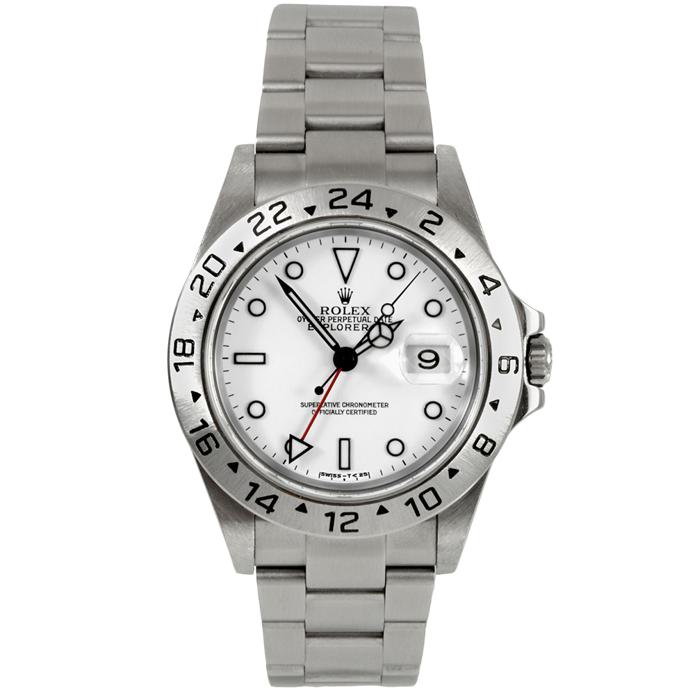 Pre-owned Rolex Mens Explorer II Watch - Stainless Steel White Dial 16570 40MM 1990s Model
