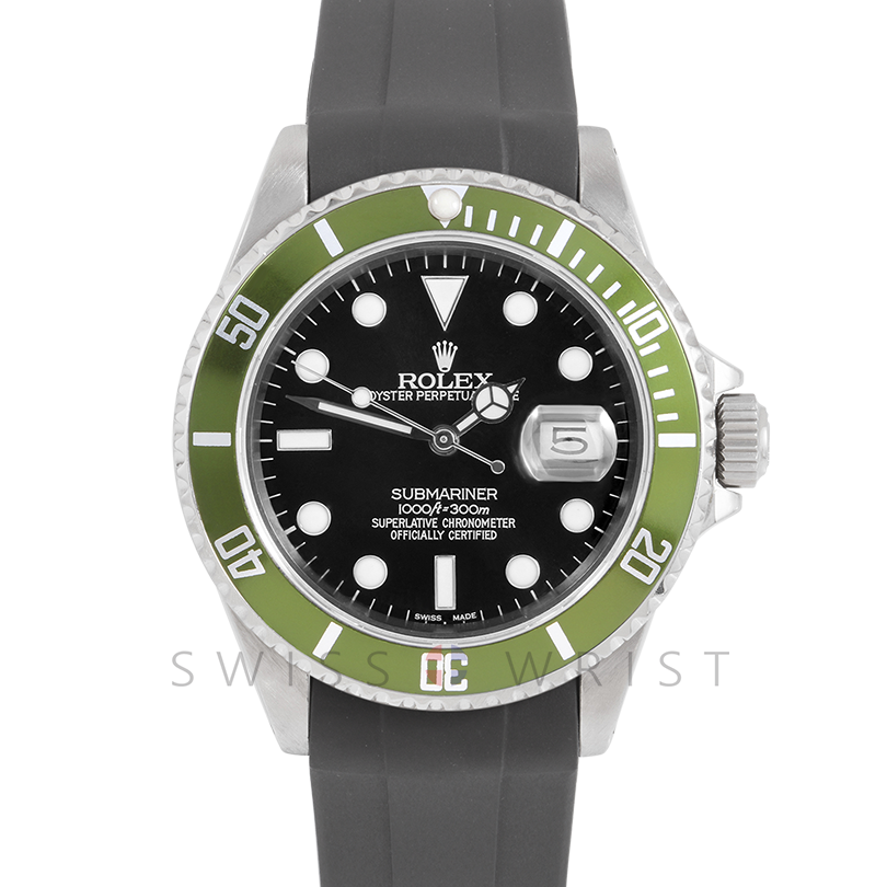 Rolex Submariner Date 16610 40mm Stainless Steel, Custom Black Dial & Custom Green Directional Bezel on Rubber Strap - Pre-Owned Watch 90's Model