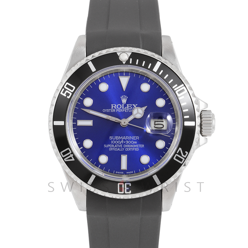 Rolex Submariner Date 16610 40mm Stainless Steel, Custom Blue Dial & Custom Black Directional Bezel on Rubber Strap - Pre-Owned Watch