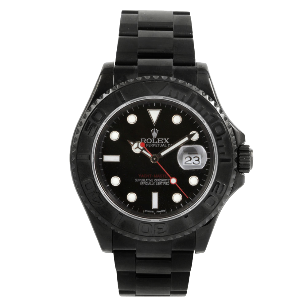 Pre-owned Rolex Mens Yachtmaster Stainless Steel Watch - With Black DLC/PVD Coating - Red Accented Black Dial 16622 Model