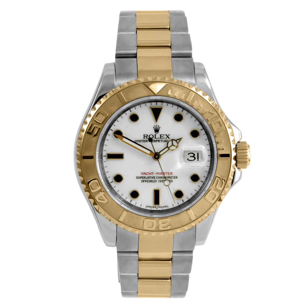 Pre-owned Rolex Men's Yacht-Master Watch - Two Tone White Dial 16623 40MM Model