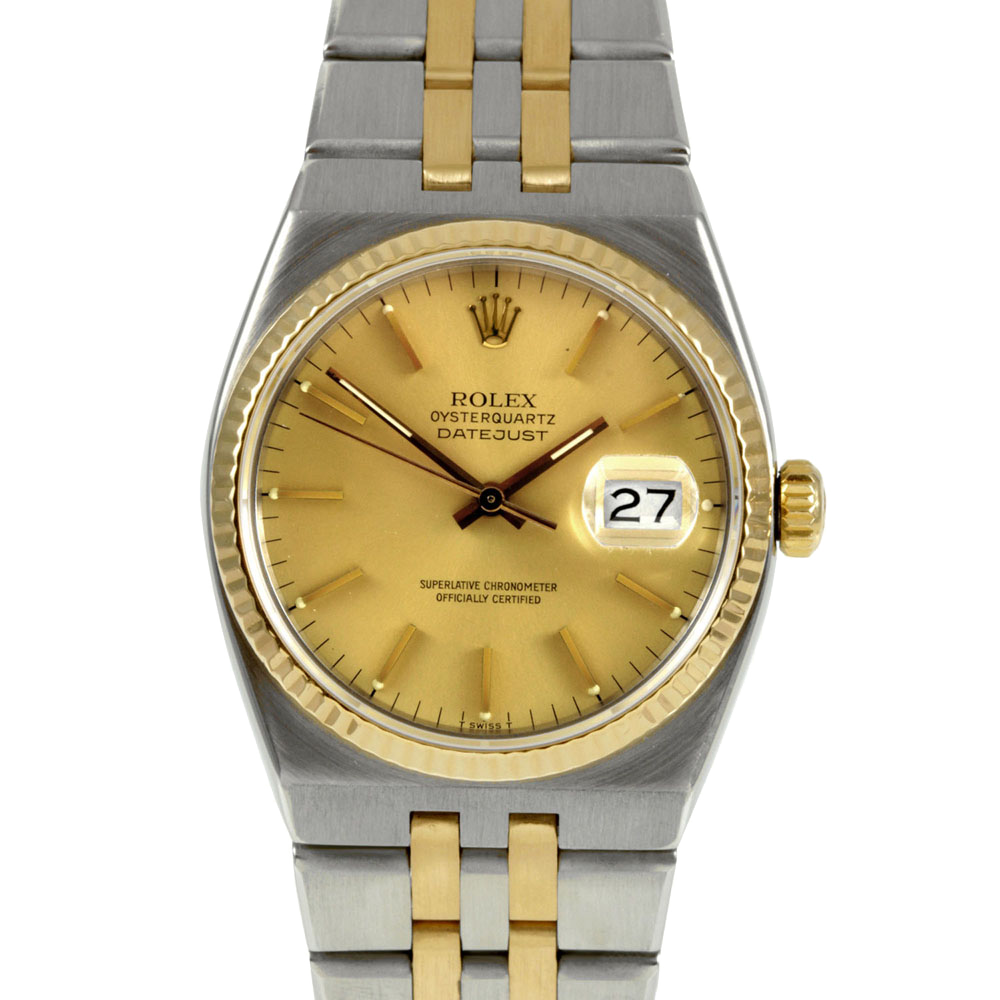 Pre-owned Rolex Mens Two Tone Quartz Datejust Watch - with Champagne Stick Dial- 17013 Model