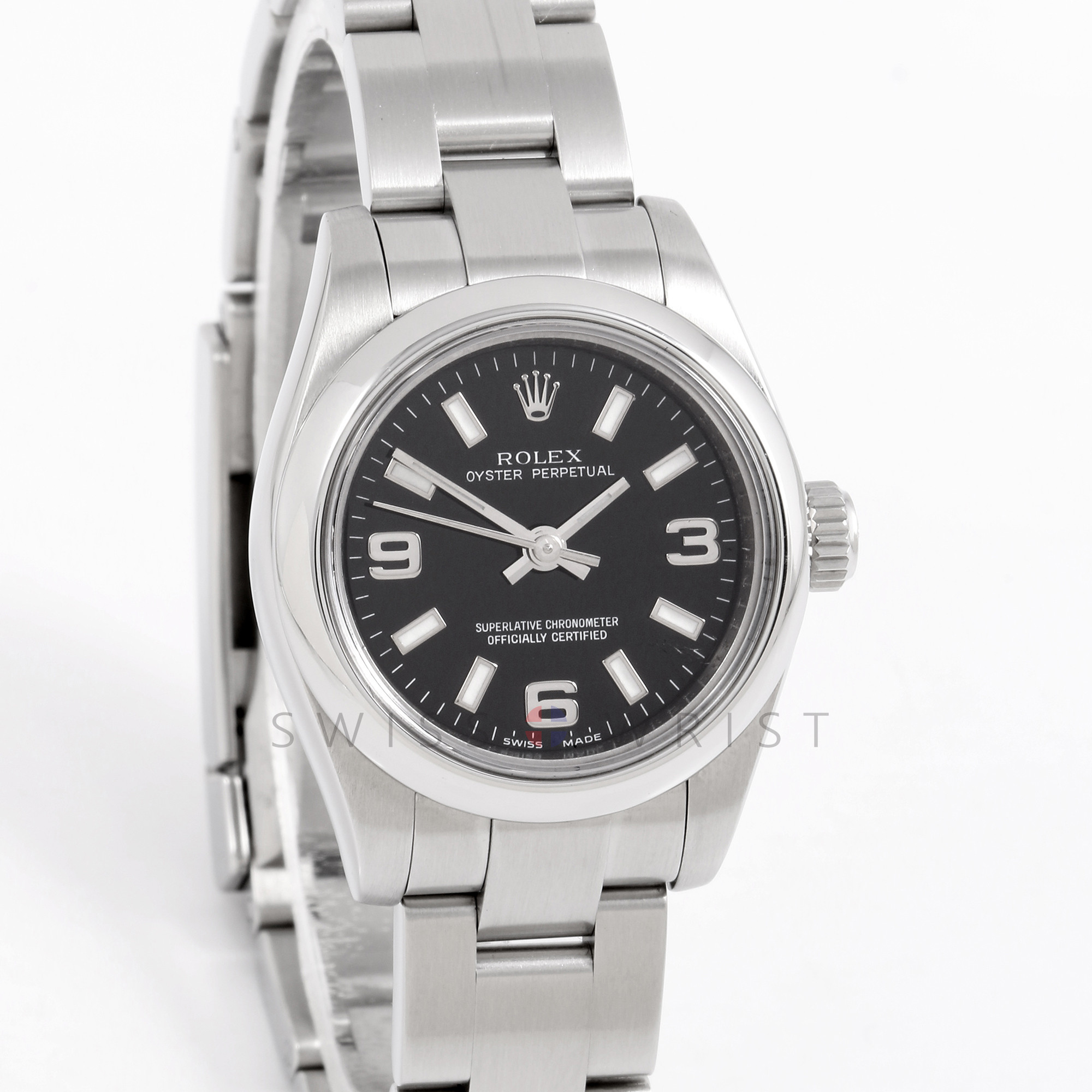 Rolex 176200 Ladies Oyster Perpetual 26mm Stainless Steel w/ Black Dial and Smooth Bezel with Oyster Bracelet - Pre-Owned
