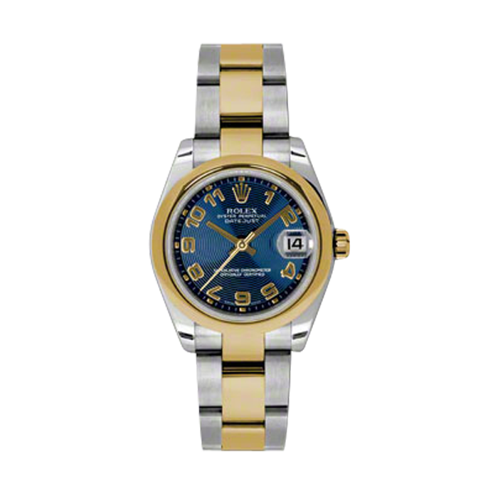 New Rolex Mens New Style Midsize Datejust Watch - Two Tone Yellow Gold Blue Concentric Arabic Dial - 18K Domed Bezel - Jubilee Bracelet 31 MM 178243