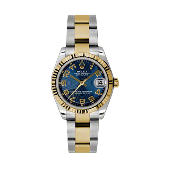 New Rolex Mens New Style Midsize Datejust Watch - Two Tone Yellow Gold Blue Concentric Arabic Dial - 18K Fluted Bezel - Oyster Bracelet 31 MM 178273
