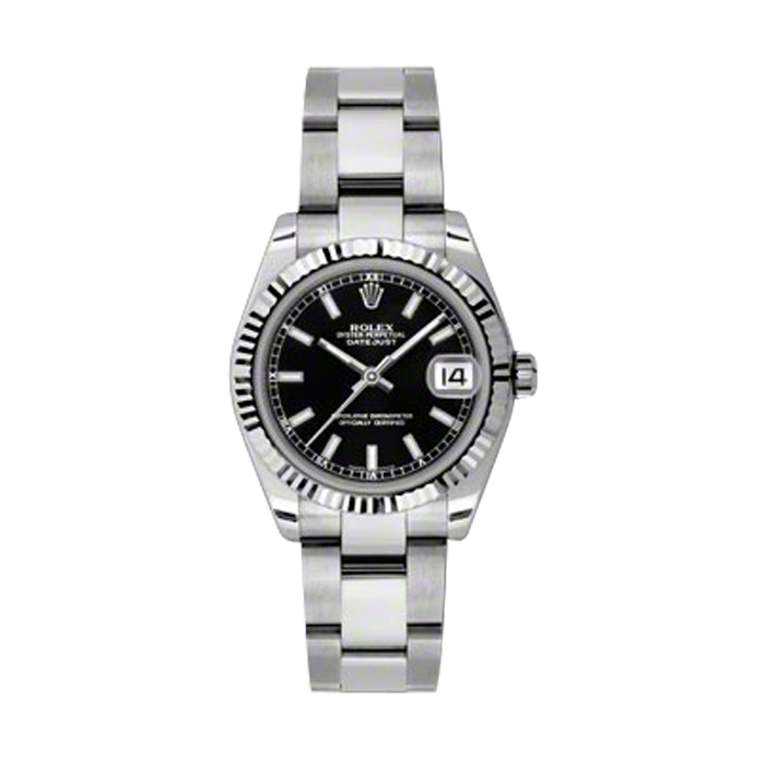 New Rolex New Style Midsize Datejust Stainless Steel Watch - Black Index Dial - 18K Fluted Bezel - Oyster Bracelet 31 MM 178274