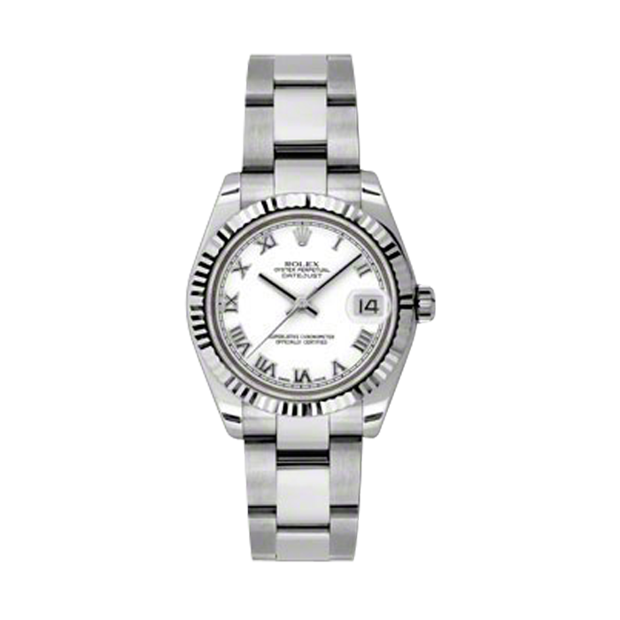 New Rolex Mens New Style Midsize Datejust Watch - Stainless Steel White Roman Dial - 18K Fluted Bezel - Oyster Bracelet 31 MM 178274