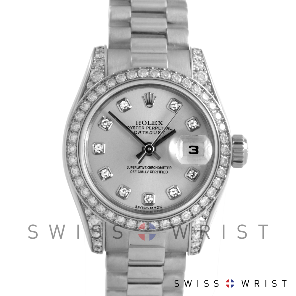 Used Rolex Ladies 18K White Gold President Watch - 179159 Factory Silver Diamond Dial with Factory Diamond Bezel & Lugs