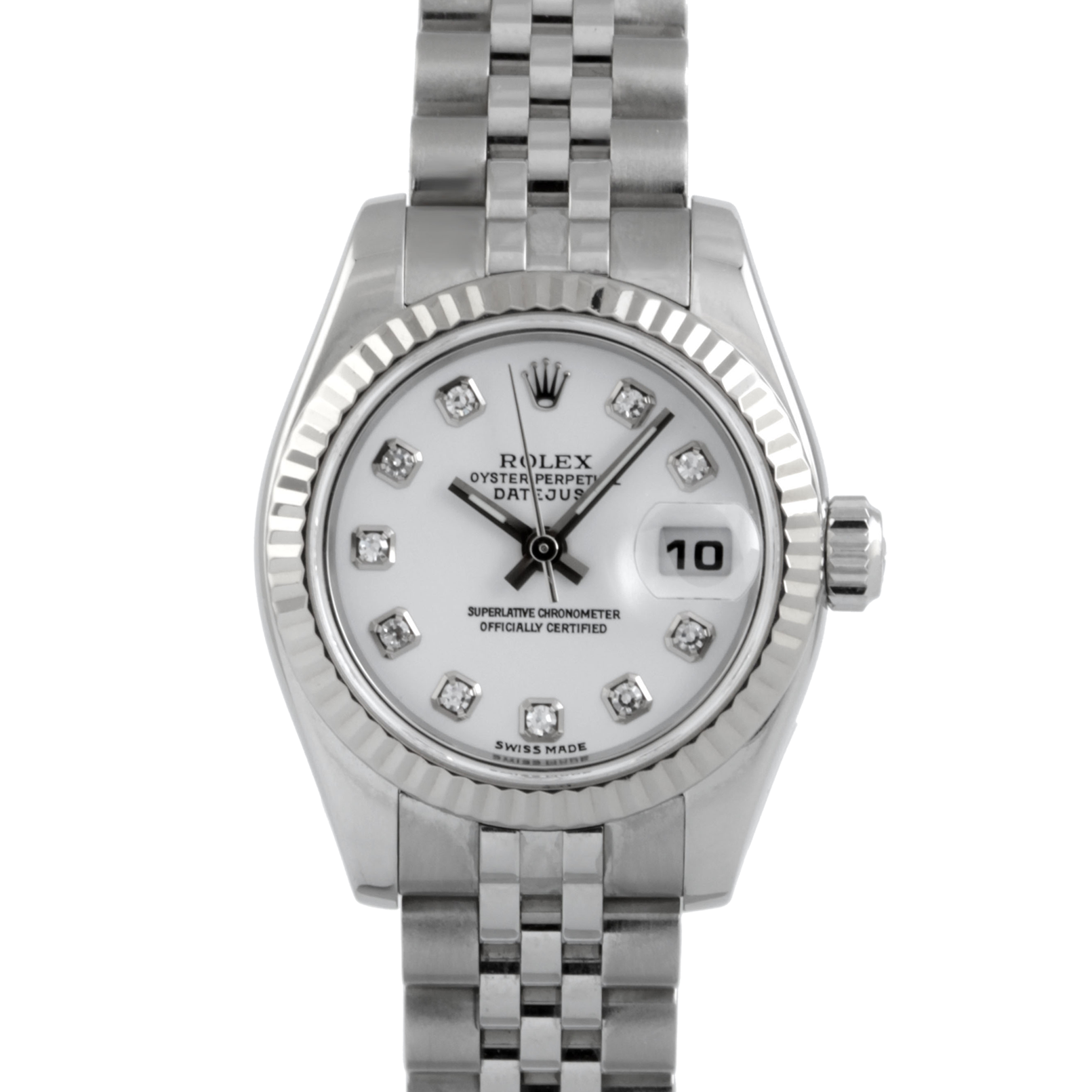 Rolex Ladies Datejust 179174 - Stainless Steel - White Diamond Dial & Fluted Bezel On A Jubilee - Pre-owned