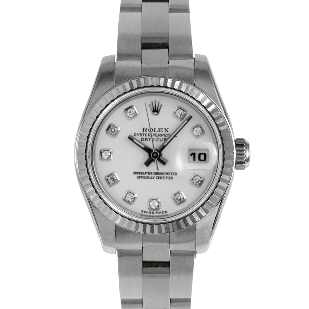 Rolex Ladies Datejust 179174 - Stainless Steel - White Diamond Dial - Fluted Bezel On An Oyster Band - Pre-owned