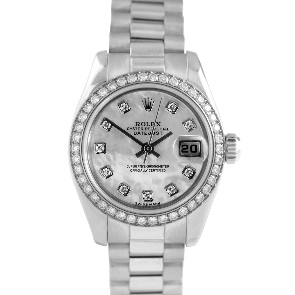 Used Rolex Ladies 18K White Gold President Watch - 179179 Factory Mother of Pearl Diamond Dial with Factory Diamond Bezel