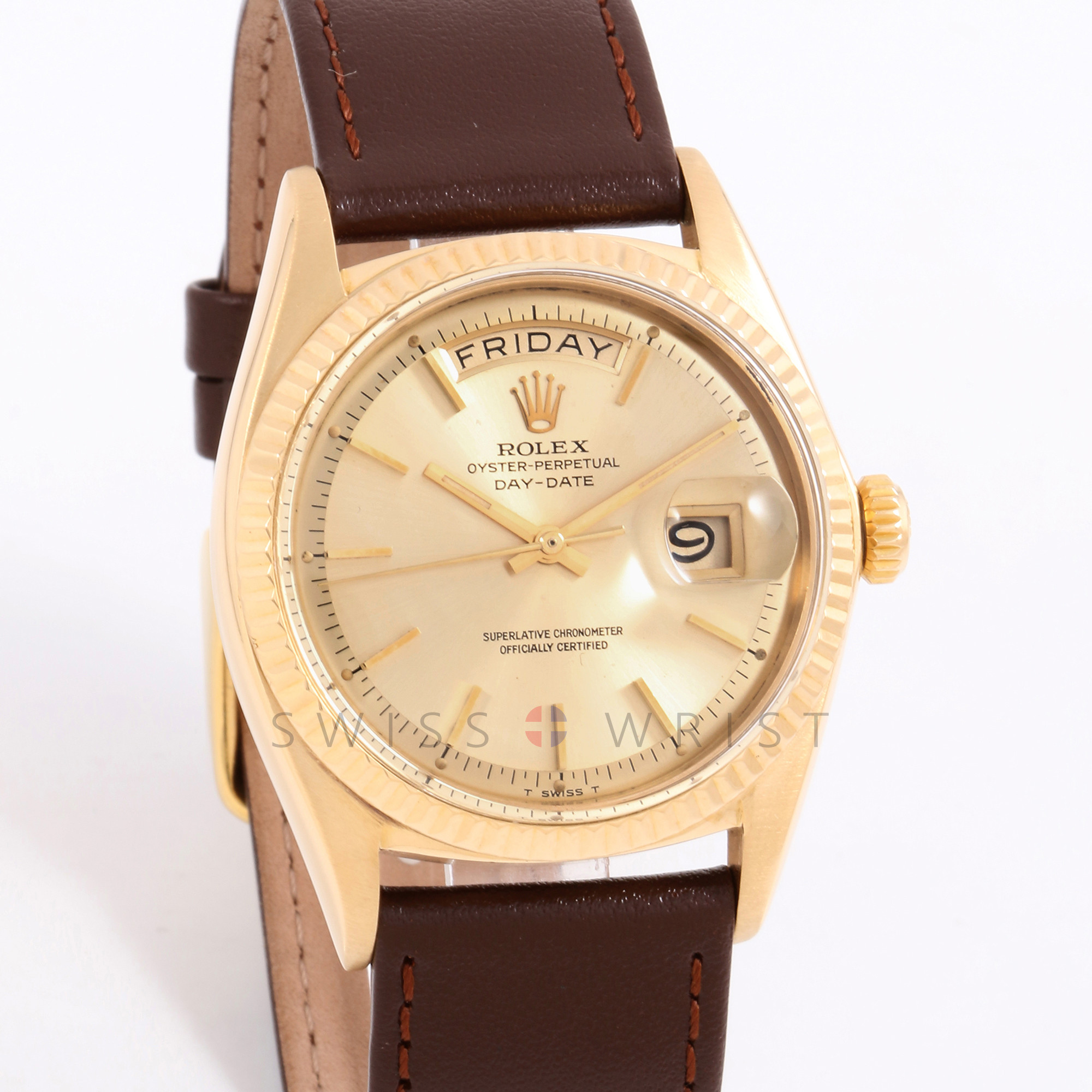 Rolex Day-Date 36 mm 1803 Yellow Gold, Champagne Stick Dial w/ Fluted Bezel on Brown Leather Strap - Pre-Owned Men's Watch