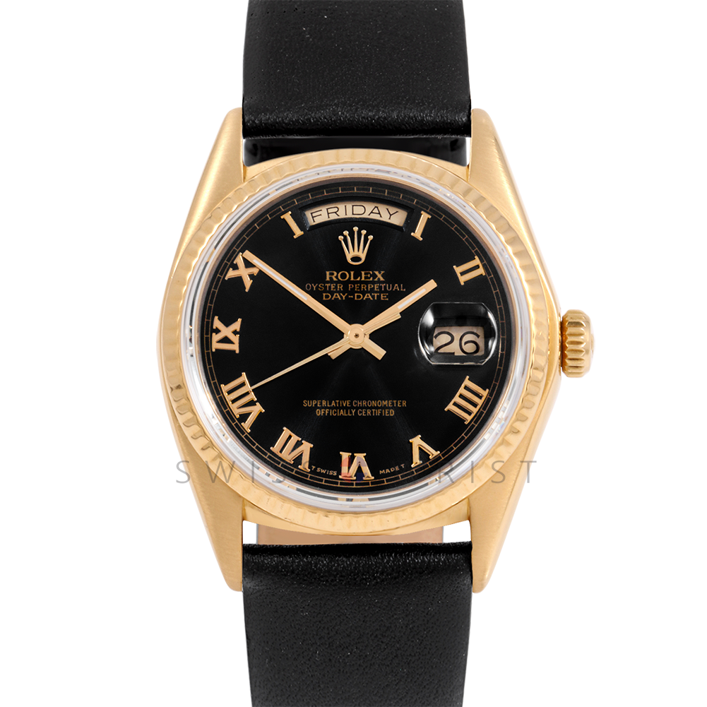 Rolex Day-Date 36 18038 18K Yellow Gold President, Black Roman Dial, Fluted Bezel on Black Leather Strap - Men's Pre-Owned Watch