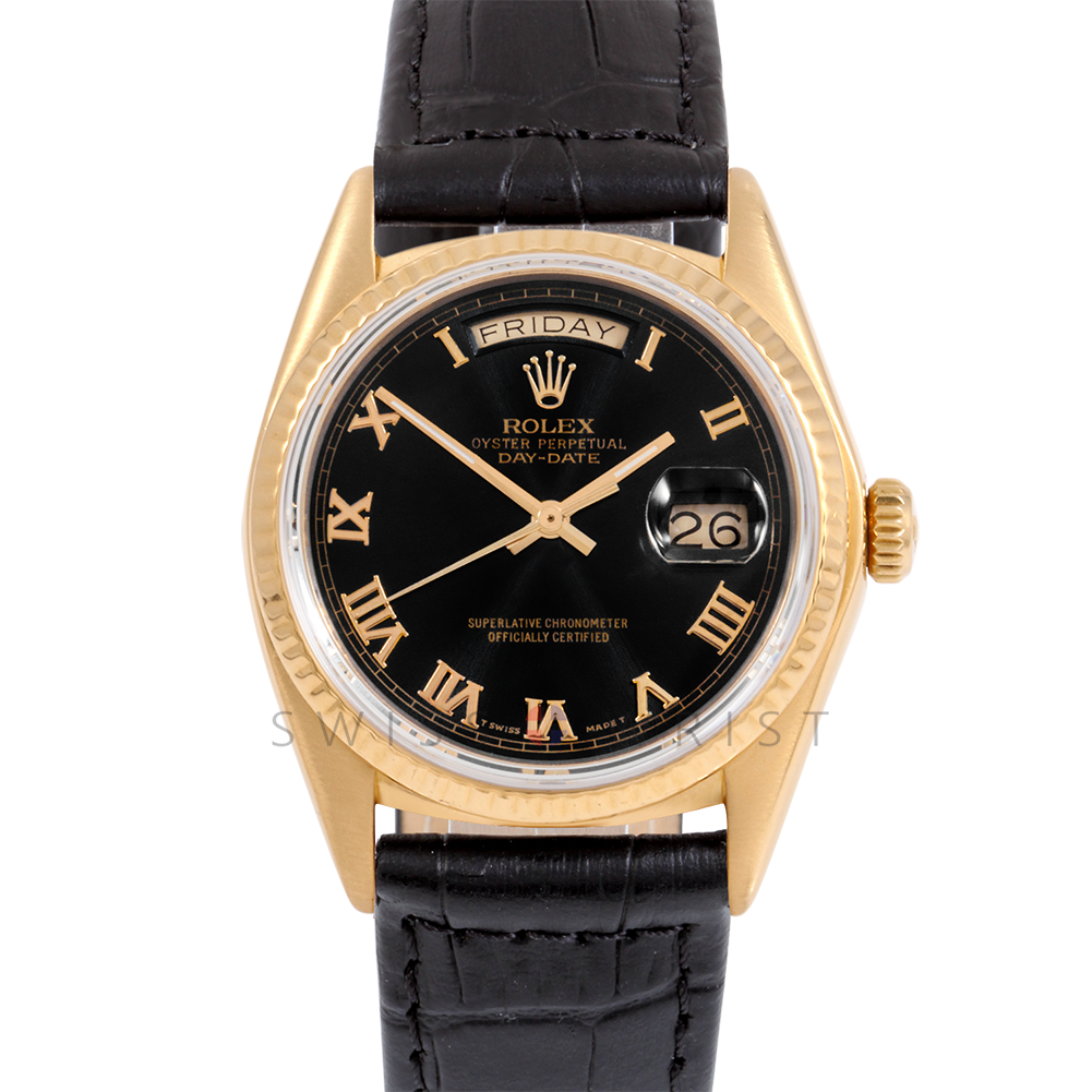 Rolex Day-Date 36 18038 18K Yellow Gold President, Black Roman Dial, Fluted Bezel on Black Alligator Leather Strap - Men's Pre-Owned Watch