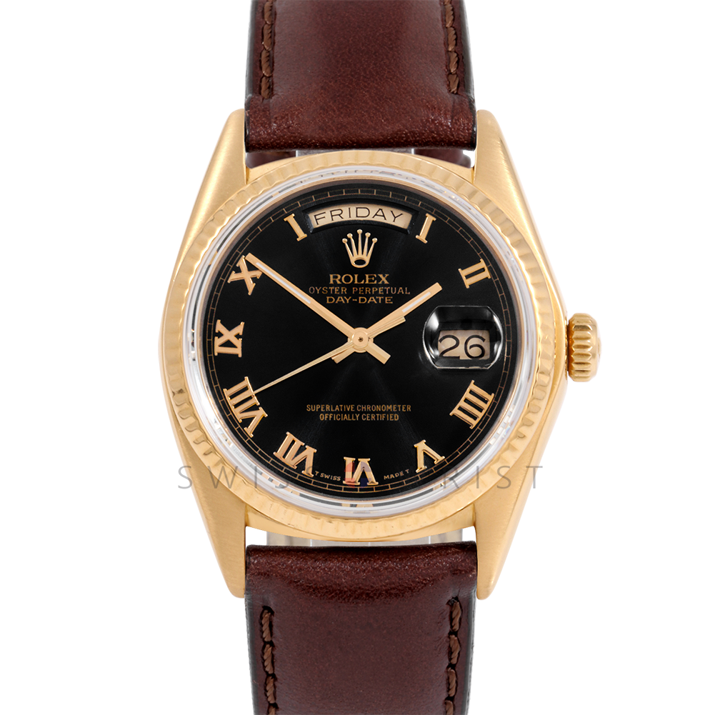 Rolex Day-Date 36 18038 18K Yellow Gold President, Black Roman Dial, Fluted Bezel on Brown Leather Strap - Men's Pre-Owned Watch