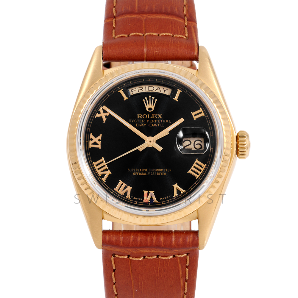 Rolex Day-Date 36 18038 18K Yellow Gold President, Black Roman Dial, Fluted Bezel on Brown Alligator Leather Strap - Men's Pre-Owned Watch