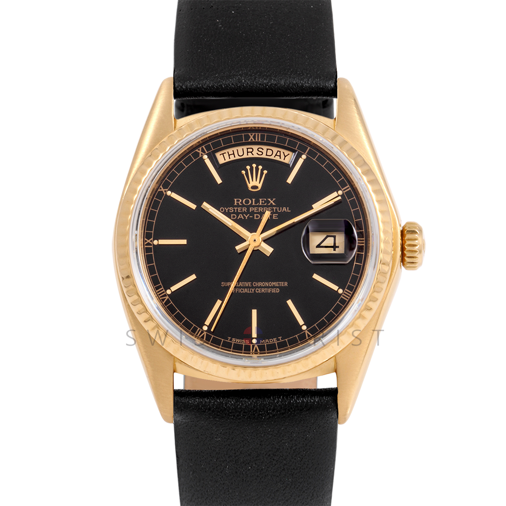 Rolex Day-Date 36 18038 18K Yellow Gold President, Black Stick Dial, Fluted Bezel on Black Leather Strap - Men's Pre-Owned Watch