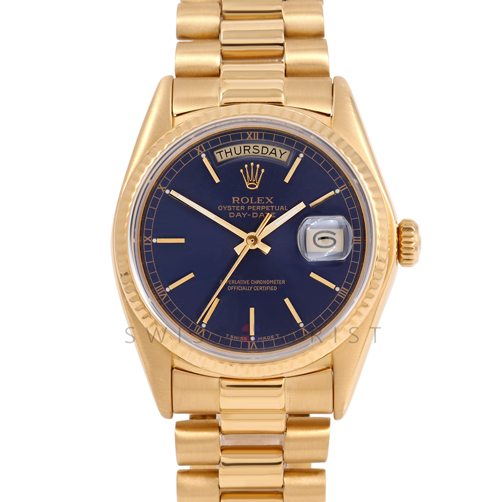 Rolex Day Date President 18038 Custom Blue Stick Stick Dial 18K Yellow Gold - Fluted Bezel On A President Bracelet - Pre-Owned