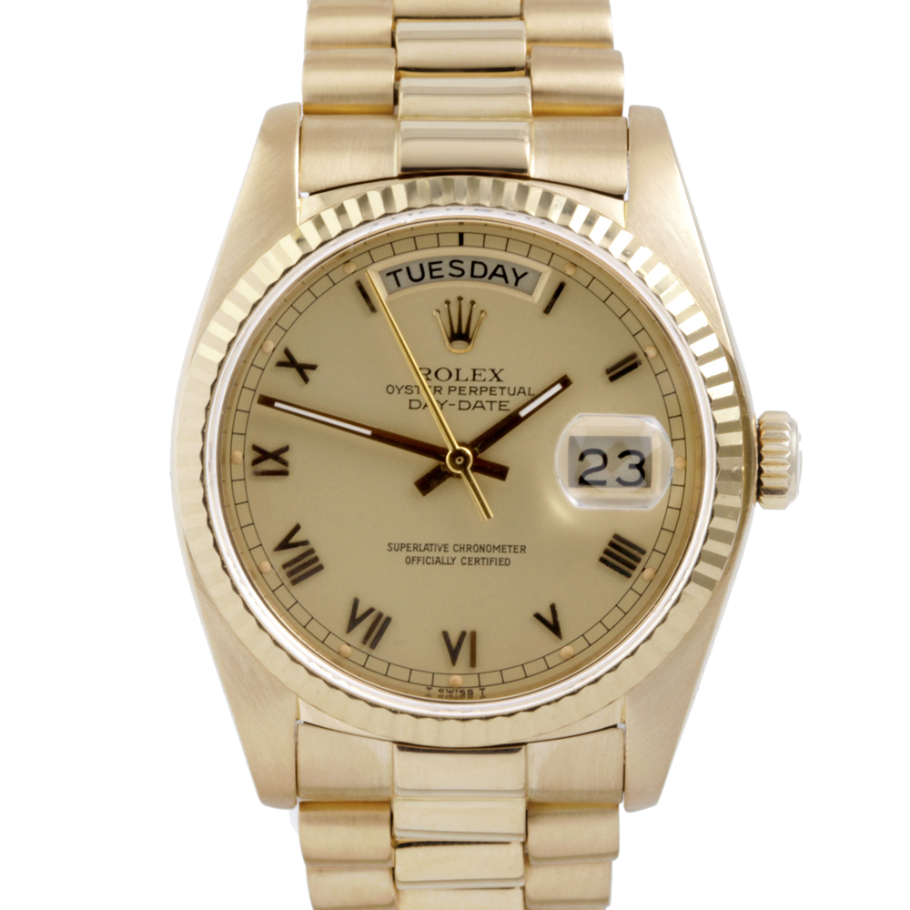 Rolex Day Date President 18038 Champagne Roman Dial 18K Yellow Gold - Fluted Bezel On A President Bracelet - Pre-Owned