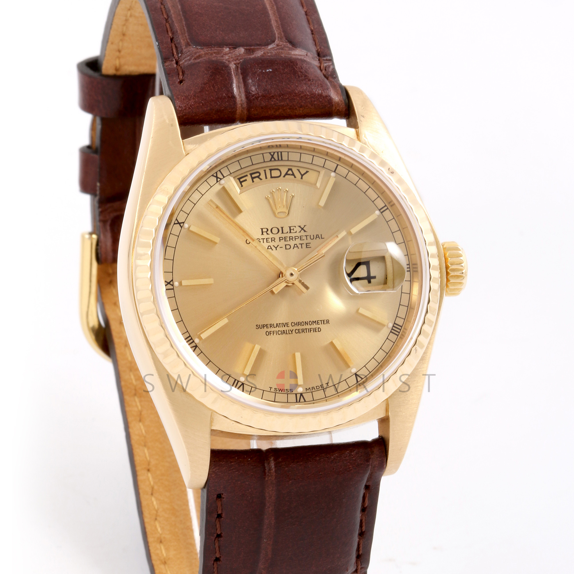 Rolex Day-Date 36 mm 18038 18K Yellow Gold, Champagne Stick Dial, Fluted Bezel on a Brown Alligator Leather Strap - Pre-Owned Men's Watch
