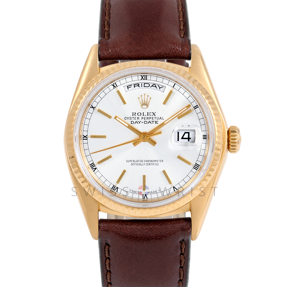 Rolex Day-Date 36 18038 18K Yellow Gold President, Custom White Stick Dial, Fluted Bezel on Brown Leather Strap - Men's Pre-Owned Watch