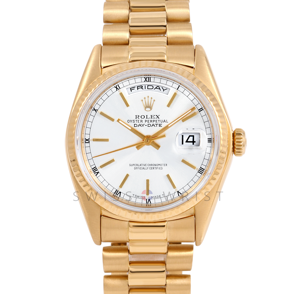 Rolex Day Date President 18038 White Stick Dial 18K Yellow Gold - Fluted Bezel On A President Bracelet - Pre-Owned