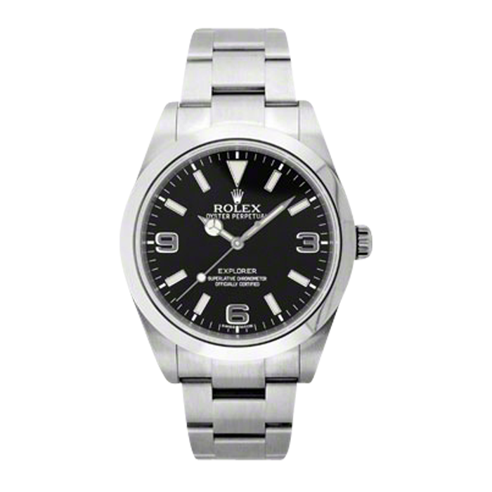 New Rolex Men's New Style Explorer I Watch - Stainless Steel Black Dial - Domed/Smooth Bezel - Oyster Bracelet 39 MM 214270