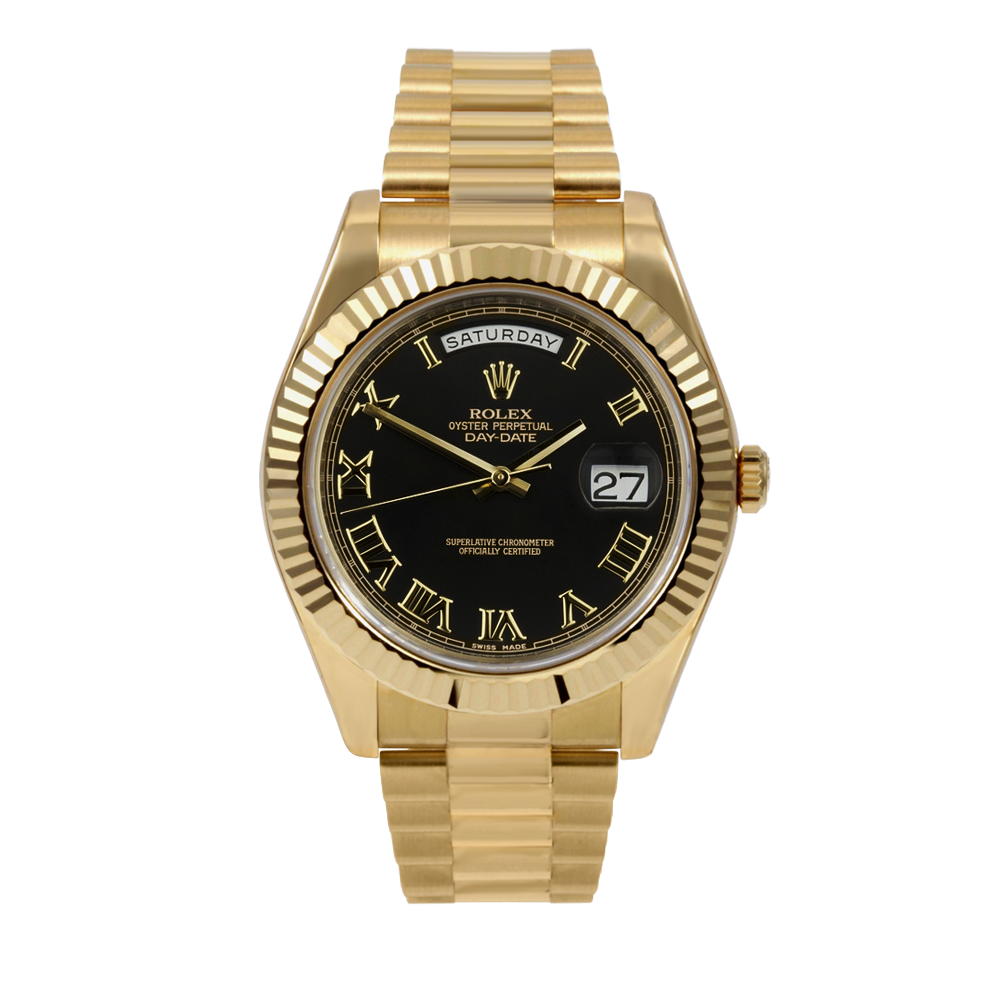 Pre-owned Rolex Mens 18 K Yellow Gold Day Date President II Watch - with Black Roman Numeral Dial - Fluted Bezel - 218238 Model
