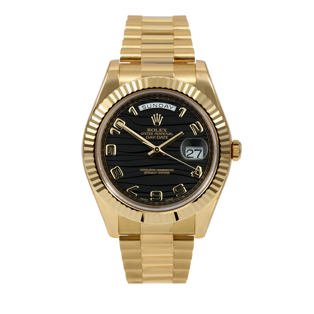 Pre-owned Rolex Mens 18 K Yellow Gold Day Date President II Watch - with Black Arabic Wave Dial - Fluted Bezel - 218238 Model
