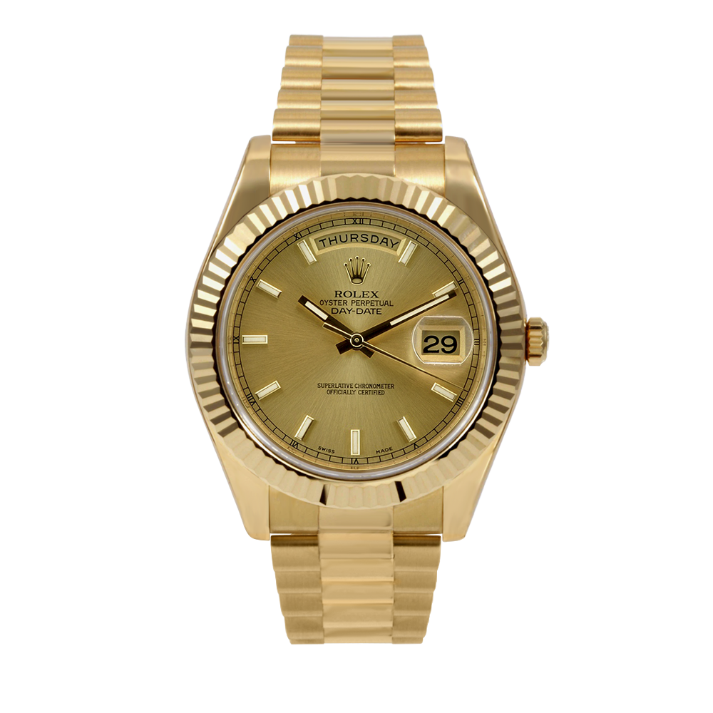 Pre-owned Rolex Mens 18K Yellow Gold Day Date II President Watch - Champagne Stick Dial Fluted Bezel 218238 41MM Model