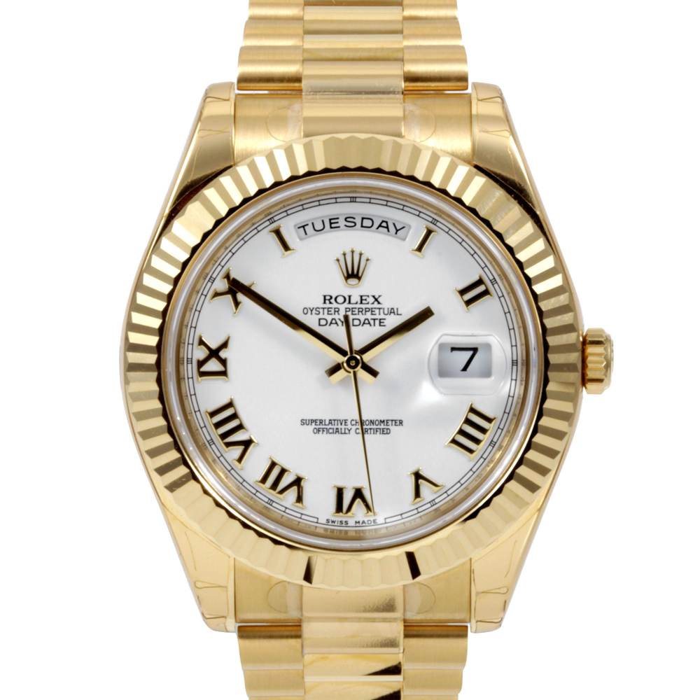 Pre-owned Rolex Mens 18K Yellow Gold Day Date II President Watch - White Roman Numeral Dial Fluted Bezel 218238 41MM Model