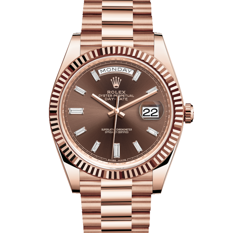 Rolex Day-Date 228235 40mm Chocolate Baguette Diamond Dial 18K Everose Gold - Fluted Bezel - Presidential Band - UNUSED