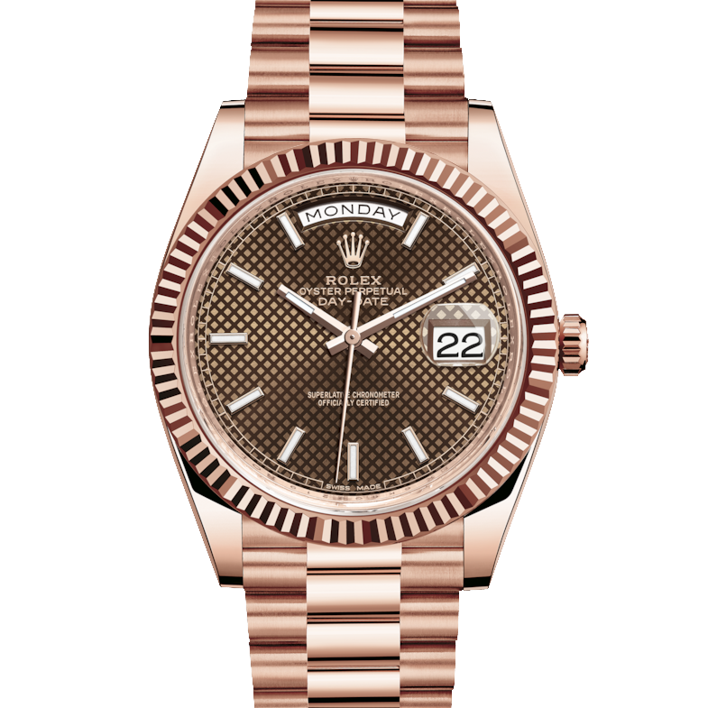 Rolex Day-Date 228235 40mm Chocolate Diagonal Motif Index Dial 18K Everose Gold - Fluted Bezel - Presidential Band - UNUSED