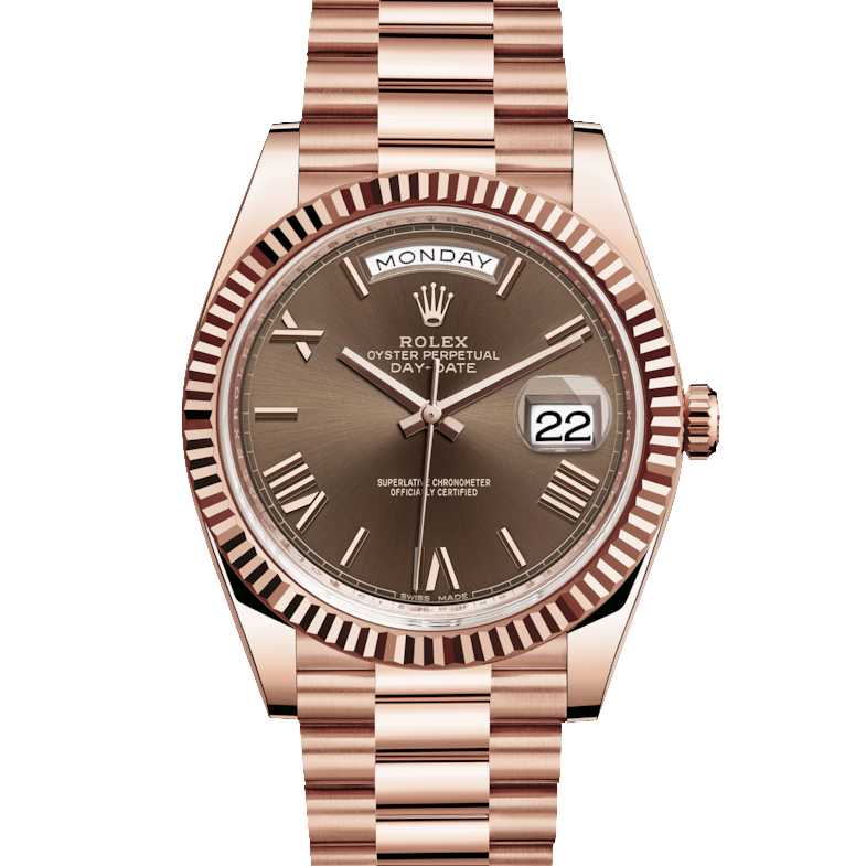 Rolex Day-Date 228235 40mm Chocolate Roman Dial 18K Everose Gold - Fluted Bezel - Presidential Band - UNUSED