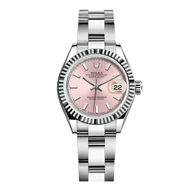 UNUSED Rolex Ladies New Style Datejust Watch - Stainless Steel - Pink Stick Dial - Fluted Bezel -  Oyster Bracelet 28 MM 279174