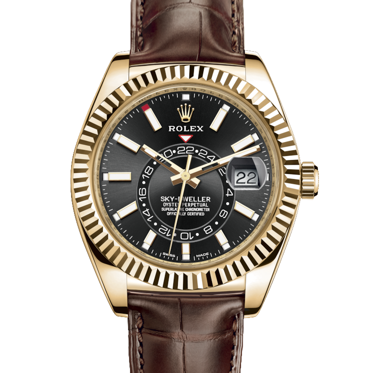 Rolex Sky Dweller 326138 42mm 18K Yellow Gold, Black Dial - Directional Fluted Bezel - Leather Strap - UNUSED